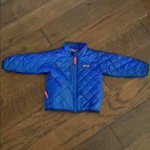 Infant Blue Patagonia Nano Puff Jacket.